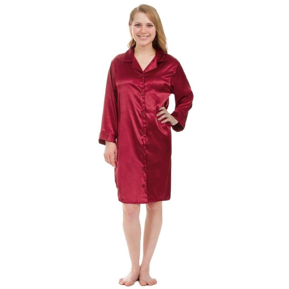 Leisureland Stretch Satin Nightshirt Boyfriend Style Sleep Shirt ... 23510c7f7