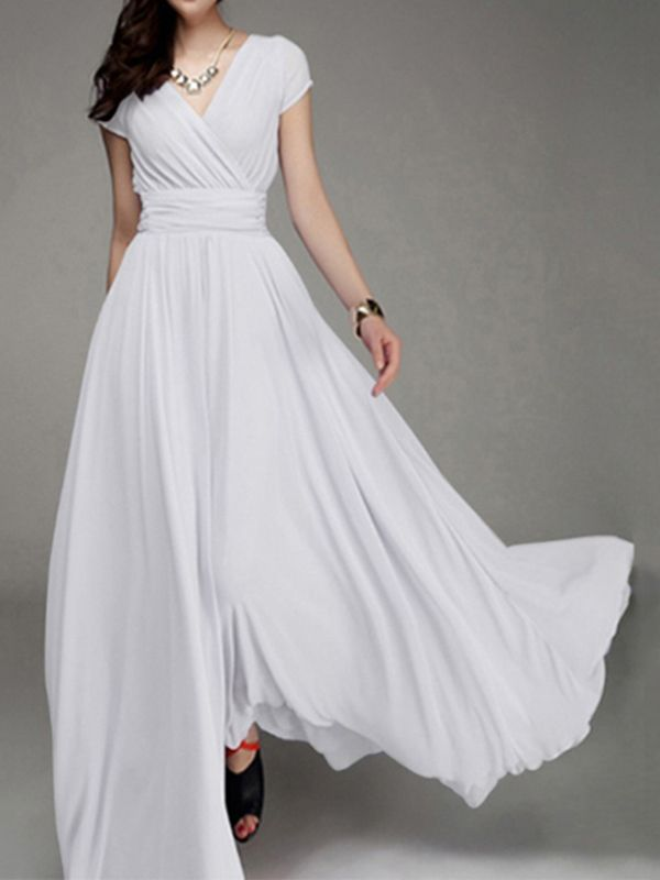 White Ruched Flowy V-neck High Waisted Bohemian Bridesmaid ...
