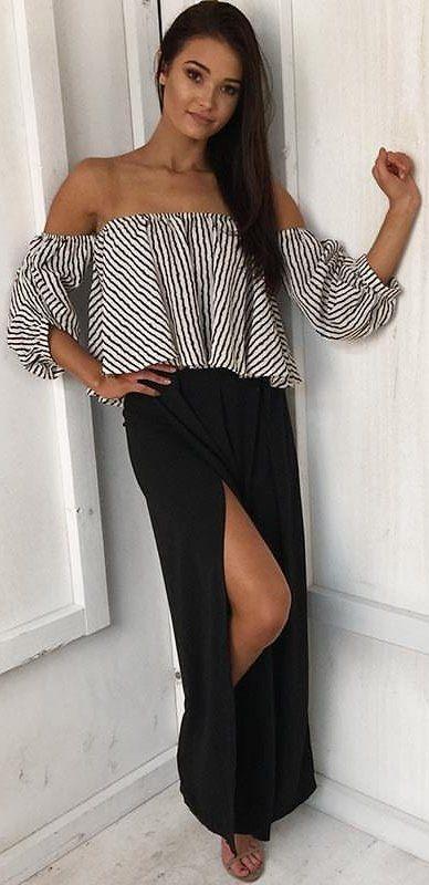 d94fabc268692  fall  outfits Monochrome Off The Shoulder Top + Black Split Maxi Skirt