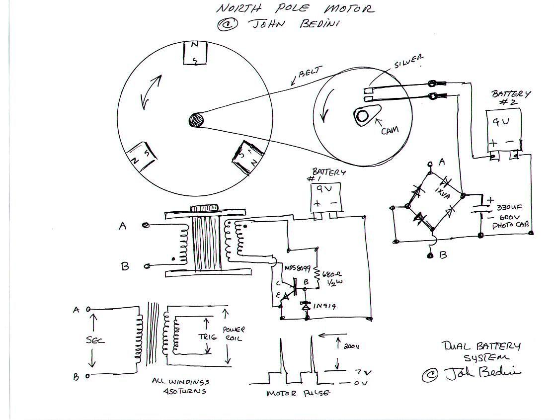 Dual Battery Motor - 03/31/00 courtesy John Bedini Radiant Energy, Circuit