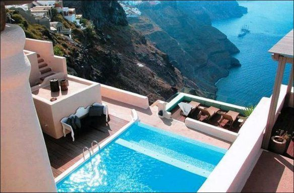 Cliffside Pool, Santorini, Greece