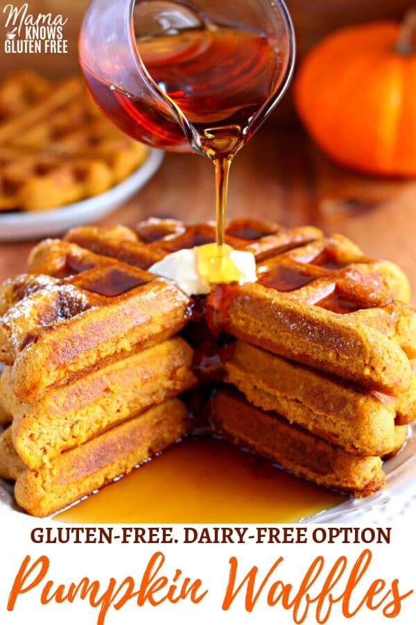 These delicious, gluten-free pumpkin waffles are crispy on the outside and fluffy on the inside. Full of pumpkin flavor and a touch of spice. Recipe with a dairy-free option. #pumpkinrecipe #wafflerecipes #glutenfree #glutenfreerecipe #glutenfreedairyfree #dairyfree #pumpkin #pumpkinspice #glutenfreebreakfasts