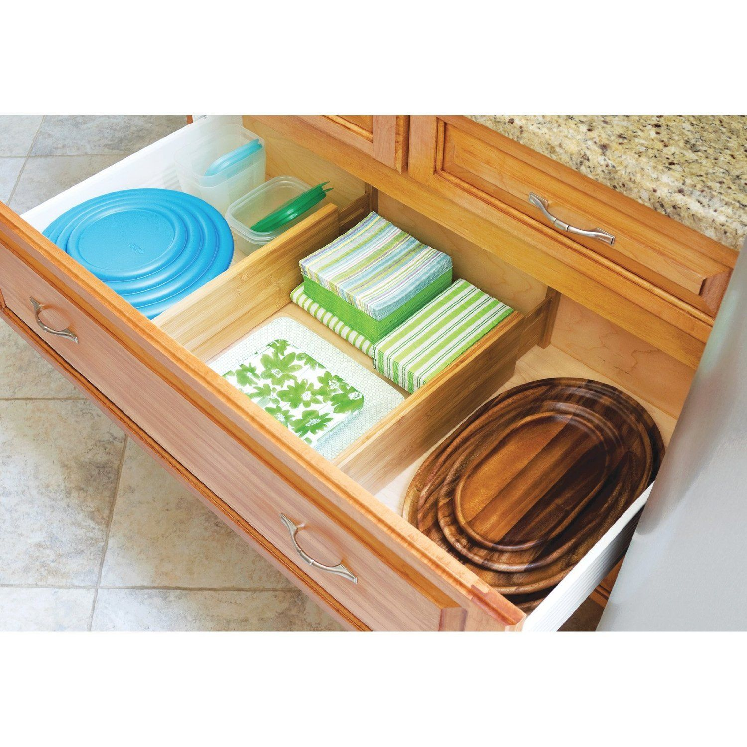 Lipper International Bamboo Deep Kitchen Drawer Dividers Set Of 2