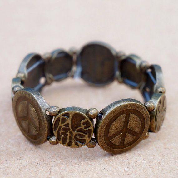 Peace Sign Bracelet Vintage Anti War Handmade Peace Symbol Metal Bracelet On Etsy 16 99 Peace Sign Bracelet Peace Sign Jewelry Hippie Love