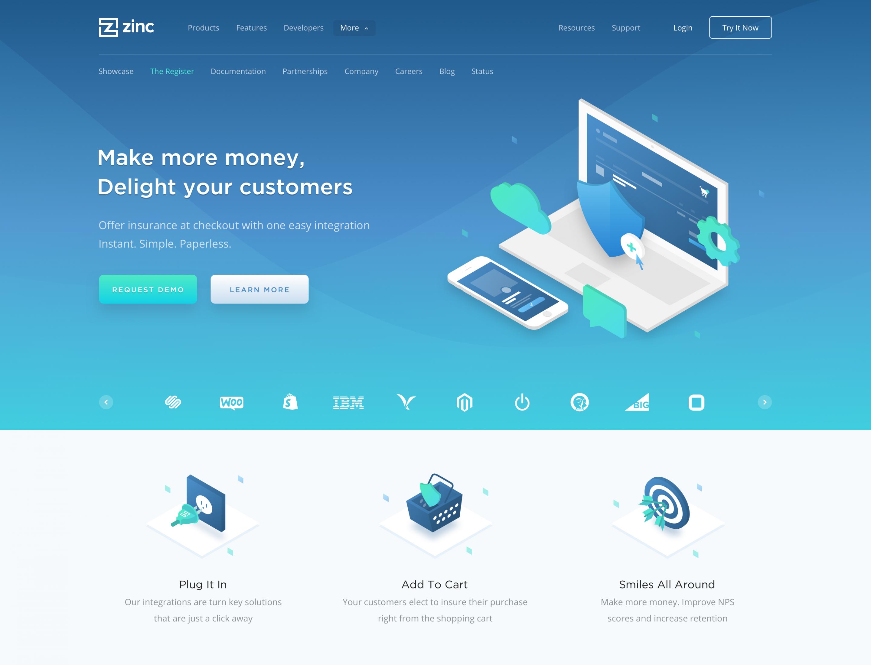hero block for landing page website pinterest web design
