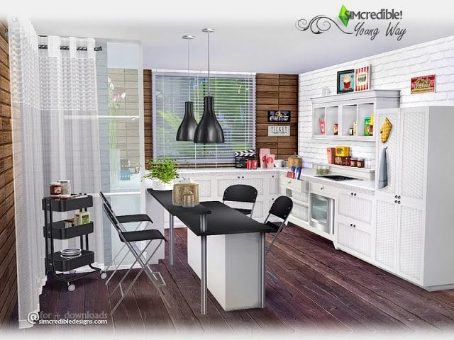Sims 4 Cc S The Best Kitchen By Simcredible Sims Pinterest