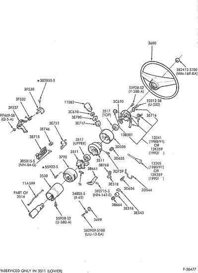 1990 Ford Steering Column Diagram | exploded view for the 1990 Ford F250 tilt | Steering Column