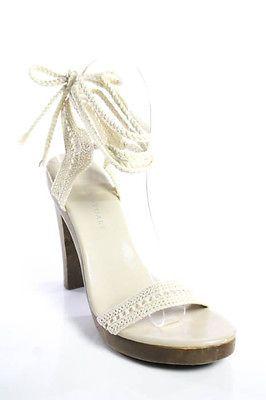 Colin Stuart White Canvas High Block Heel Open Toe Strappy Sandals Size 7