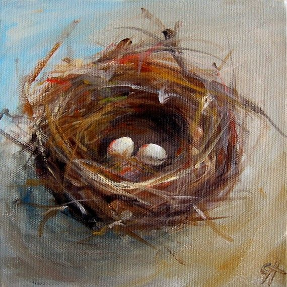 Nest Painting Two Egg Nest - Canvas Giclee Reproduction of an Original Painting - 8x8
