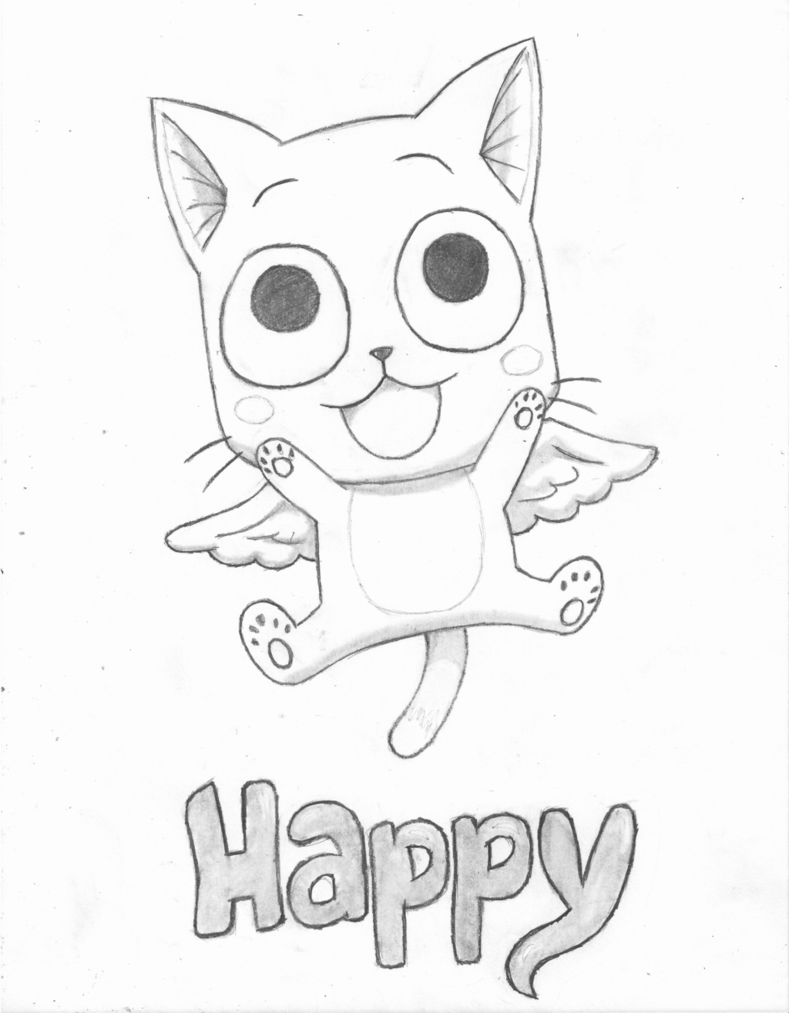 2013 2014 Musiclova4eva Quick Sketch Of Happy From Fairy Tail Colored Fiabe Disegni Anime Fairy