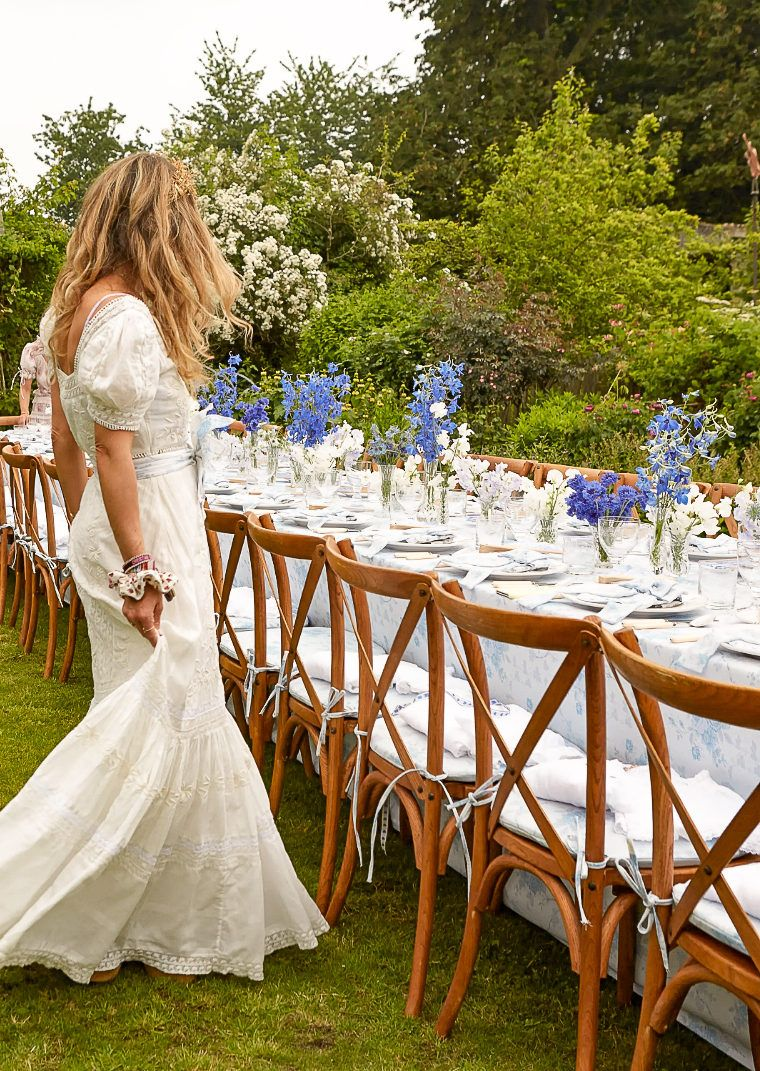 Photo of A Dreamy Blue and White Luncheon Amidst a Blooming English Garden in the Cotswolds | By Georgia Grace