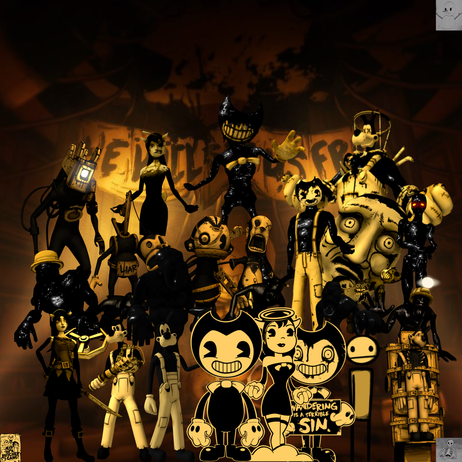 All The Characters Of Bendy And The Ink Machine By Creper64