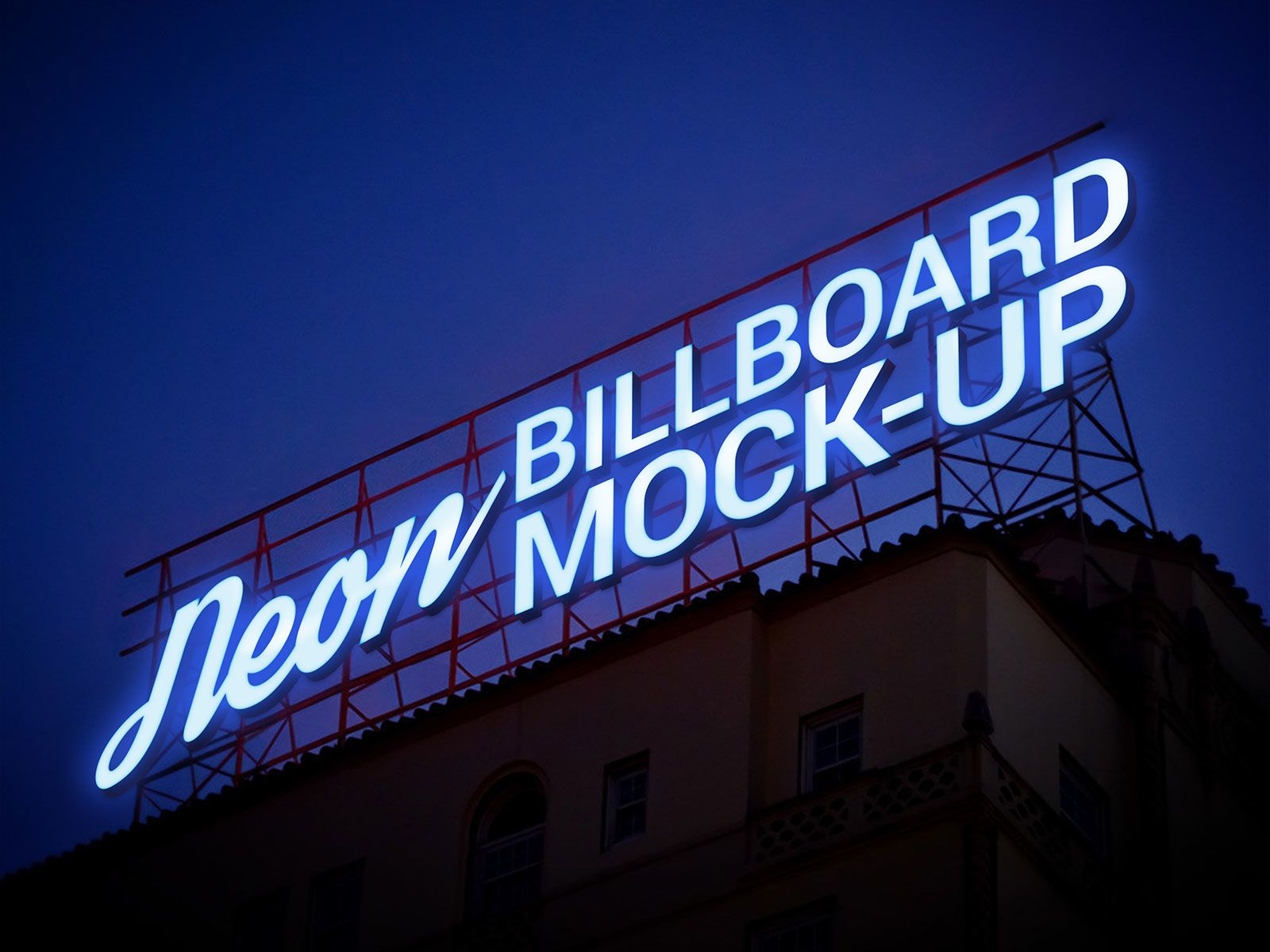 Download Free Electric Neon Sign Billboard Mockup Psd Sign Mockup Billboard Mockup Neon Signs