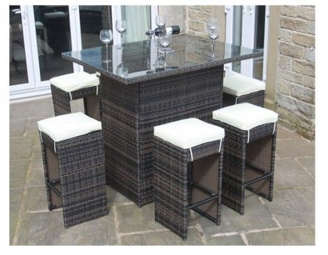 paradise brown rattan outdoor garden furniture 6 seater high table bar set - Rattan Garden Furniture 6 Seater