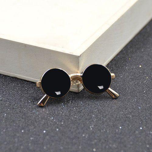 01b83a6e0bb5 Amazon.com: Mens Novelty Glasses Shape Tie Clip Golden Sunglasses Tie Bar  Clasp…