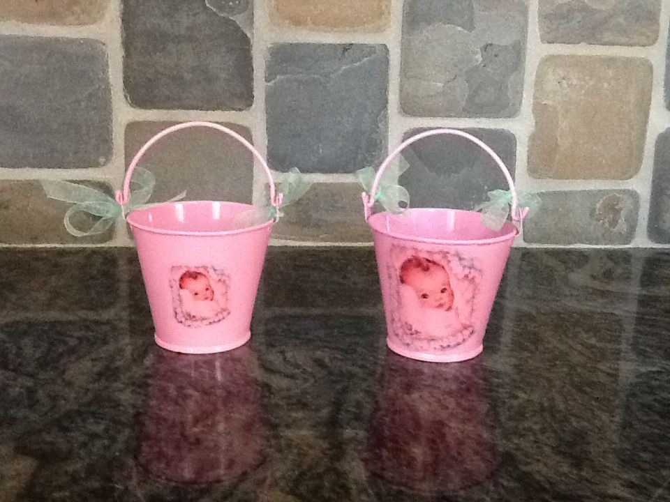 Retro buckets for baby shower.  Inexpensive pails from Hobby Lobby with mail order decals.