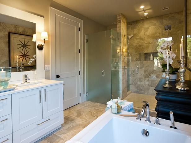 - HGTV Dream Home 2013: Master Suite Bathroom Pictures on HGTV  Mirror Frame and wall sconce beside mirror