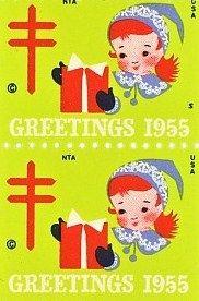 1955 Christmas Seals Christmas Stamps Old Time Christmas Vintage Christmas Cards