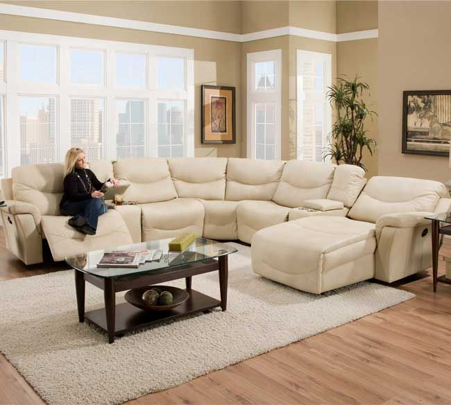Franklin 413 Milano Sectional in Natural Bonded Leather