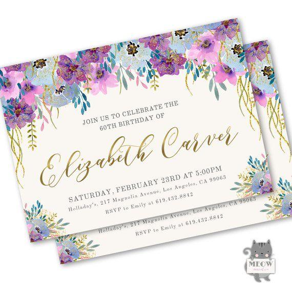 Purple And Gold Birthday Invitations For Women 50th 60th 70th Birthda