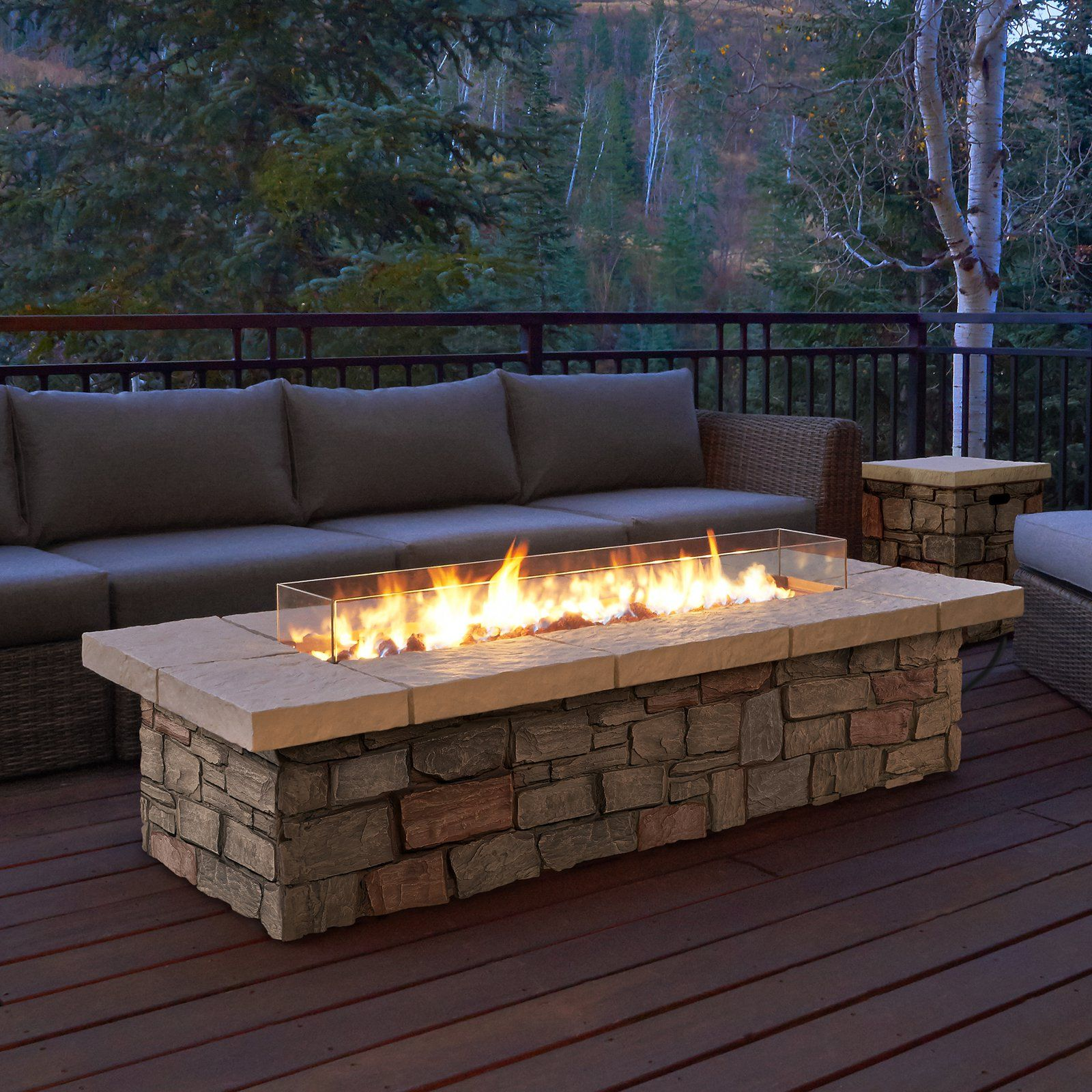 Real Flame Sedona Rectangle Propane Gas Fire Table With Optional Tank Cover