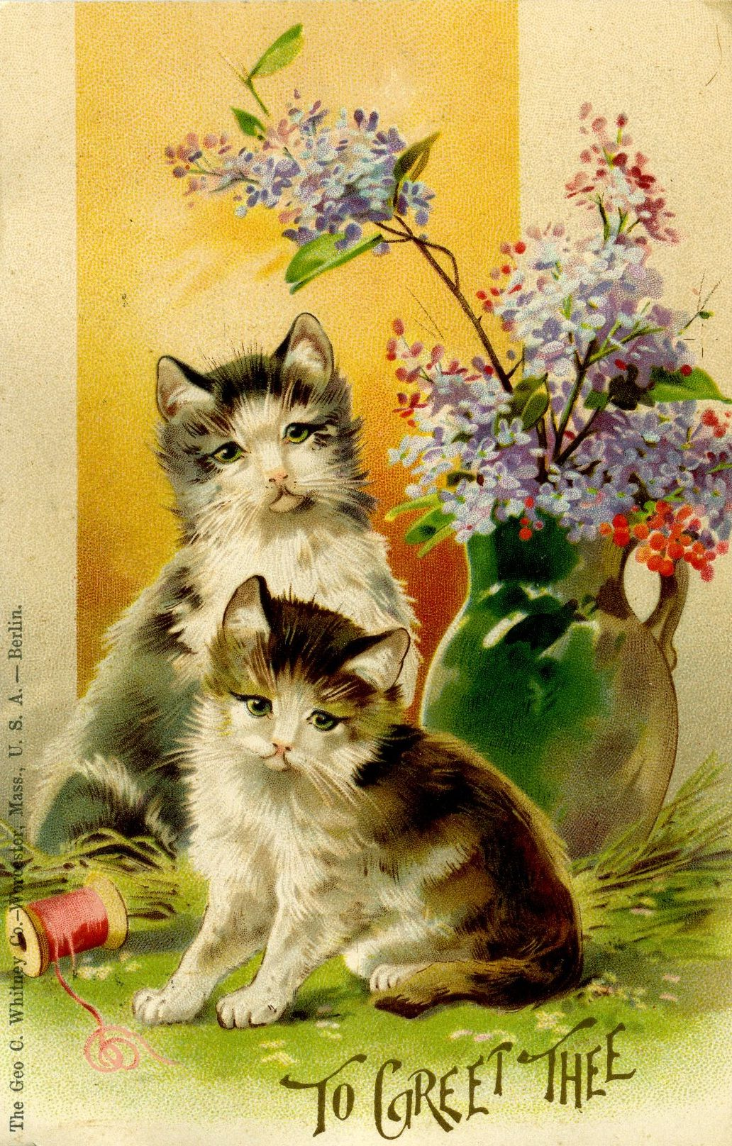 A 1907 Valentine Greeting Produced By The George C Whitney Company Of Worcester Ma In 1881 This Company Bought Out Esth Cat Art Vintage Artwork Vintage Cat