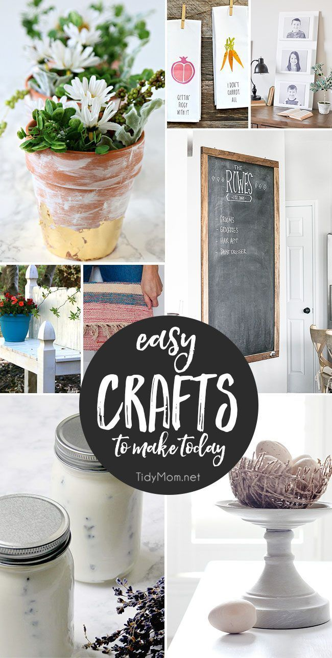 Info's : It's time to get your craft on! These EASY CRAFTS would be perfect for a craft party. So gather up your girlfriends (or the kids) and make something fun! Get all the craft tutorials at Tidymom.net