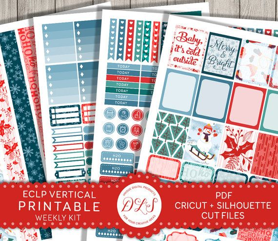 Christmas Planner Stickers Weekly Kit Erin Condren VERTICAL Holidays Winter Snowman Snowflake Red Green Blue Printable Cut Files VS118