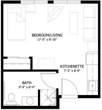 Small studio apartment floor plans studio apartment for Efficiency apartment floor plans