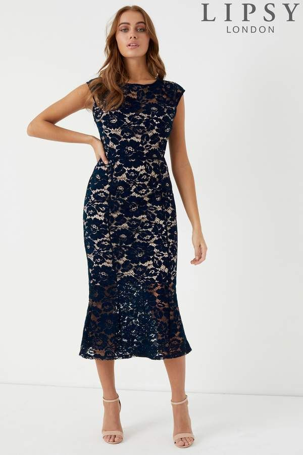 Womens Lipsy All Over Lace Flute Hem Midi Dress Navy Affiliate Lipsy Dresses Dresses Evening Dresses