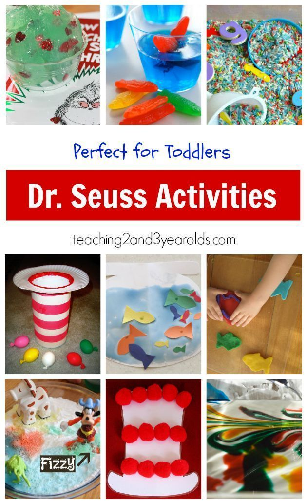 A collection of fun Dr. Seuss activities that are perfect for 2 and 3 year olds, including art, snacks, sensory, and dramatic play!