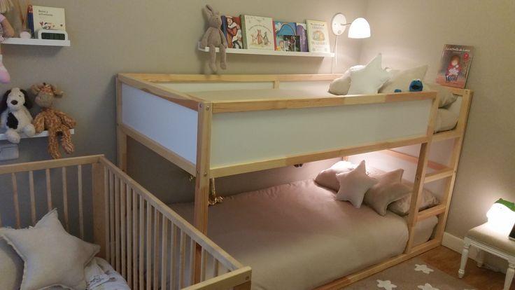 Habitaci n infantil triple estilo n rdico 3 ni os for Dormitorio infantil nordico