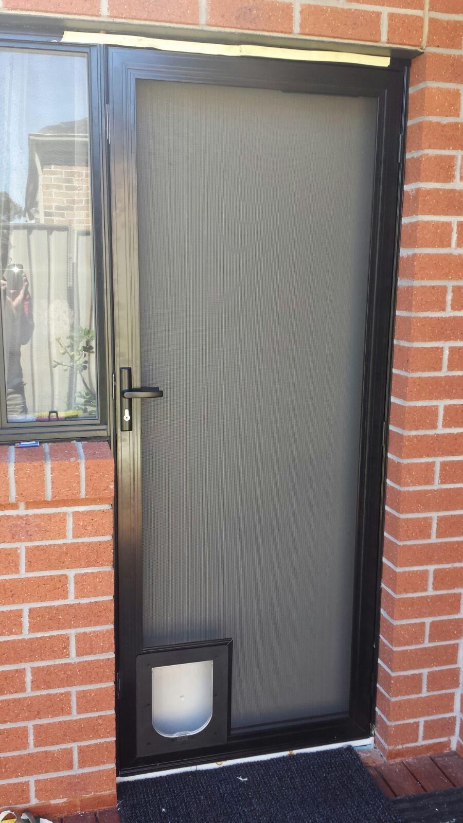 Aluminium frame security door with stainless steel mesh ...