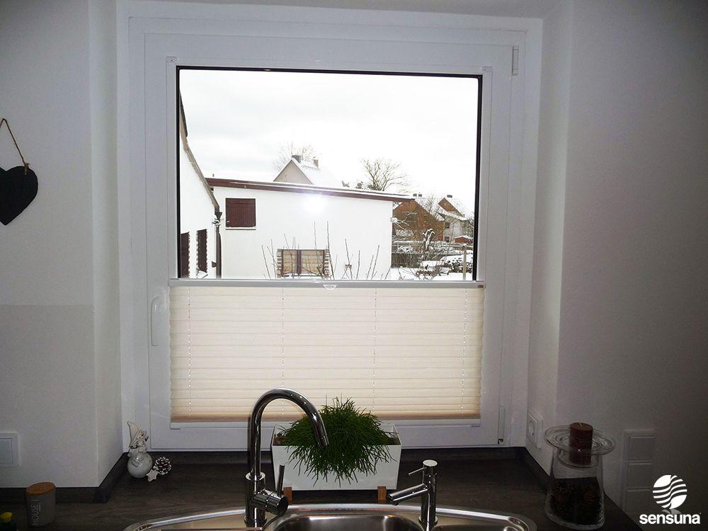 plissee von sensuna in der k che eines kunden k che pinterest plissee und k che. Black Bedroom Furniture Sets. Home Design Ideas