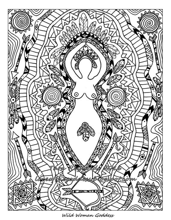 Goddess Art Coloring Pages For Adults Page Pagan Mandala