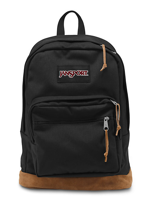 The new classic JanSport Black Right Pack backpack from the features a laptop sleeve and the signature suede leather bottom.