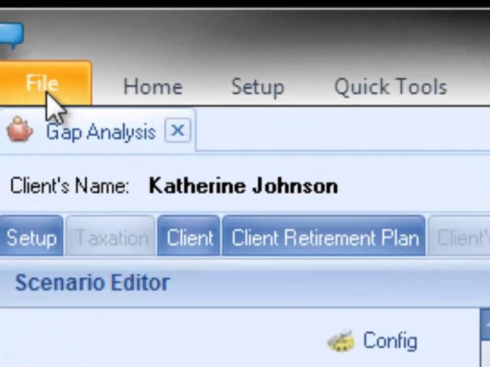 Trak The Retirement Analysis Kit Gap Analysis Scenario Editor