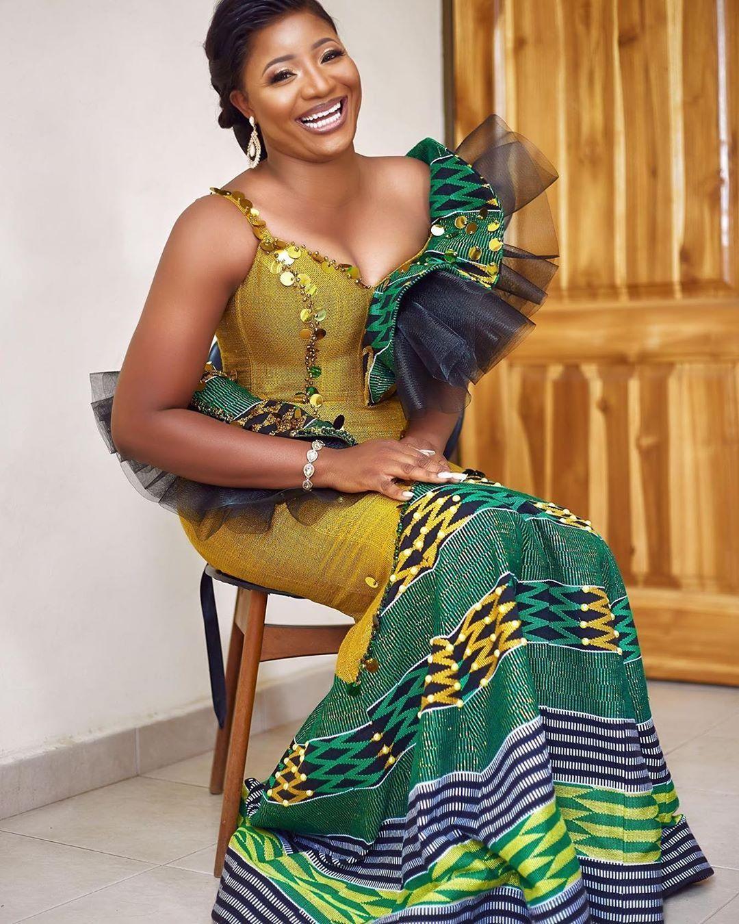 We Love Ghana Weddings On Instagram Nnaya Gh Engagement Gown Yoli Ko African Print Fashion Dresses African Clothing Styles African Design Dresses