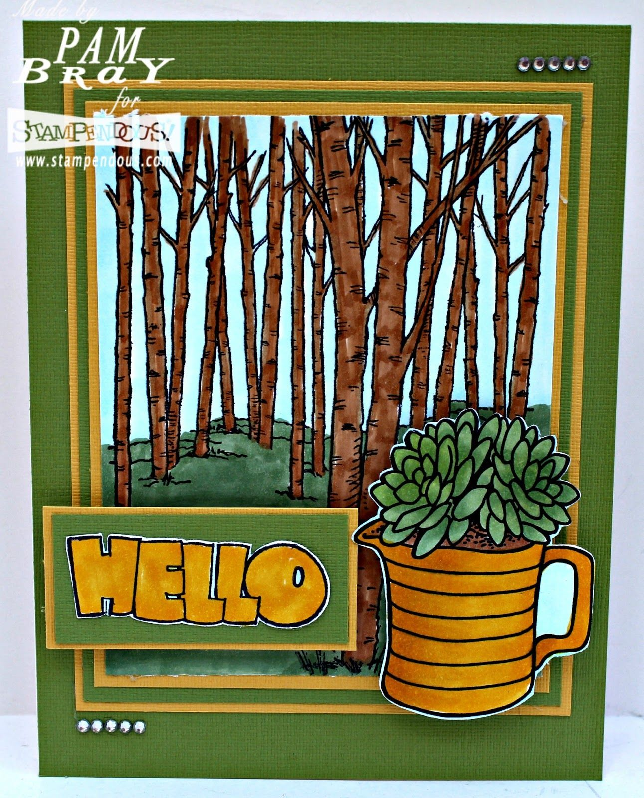 #Cre8time for a forestry hello and potted planters. #Stampendous #containergarden #succulents