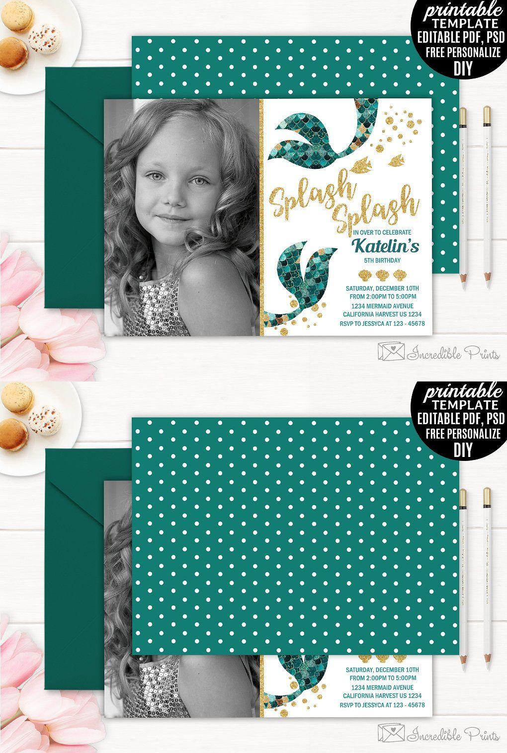 Mermaid Girl Birthday Invitation Psd Pdf Birthday