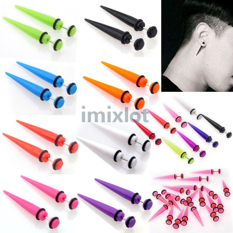 2pcs 6mm Uv Acrylic Fake Ear Plugs Stretcher Earring Taper Spike Cheater Expander Earing Stud Piercing
