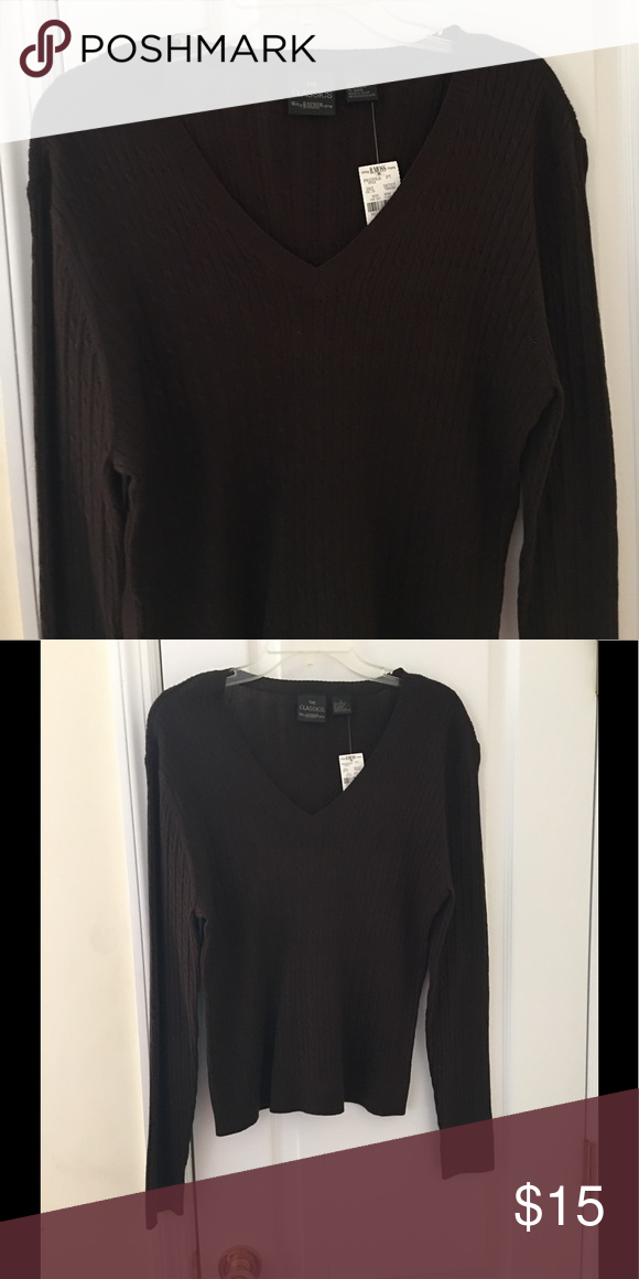 Chocolate Brown V-neck Sweater NWT | Chocolate brown, Brown and ...