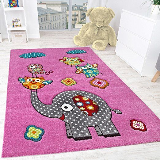 Children's Room Rug Cute, Colourful Animal World Elephant