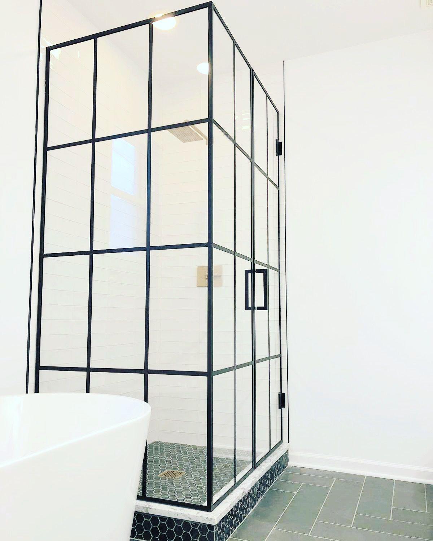 Beautiful Matte Black Framed Glass Shower Enclosure With Matte