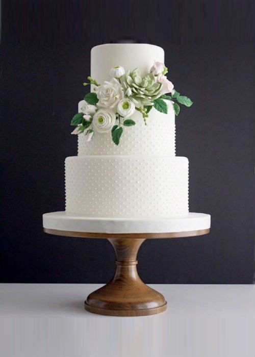 Floral Classic White Wedding Cake On 14 Inch Wood Stand