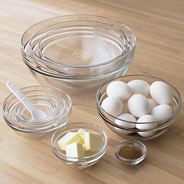 Duralex Glass Bowls, Set of 10   Crate and Barrel