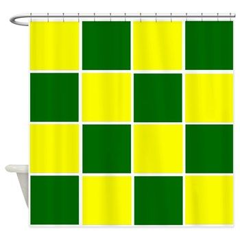 Green Bay Packers Inspired Yellow And Dark Squares Shower Curtain
