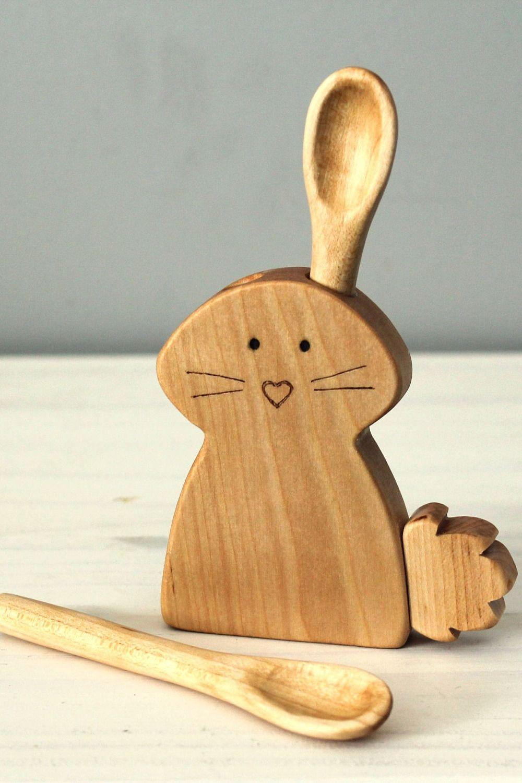 Baby spoon, rabbit spoon holder, baby gift   Pinterest ...
