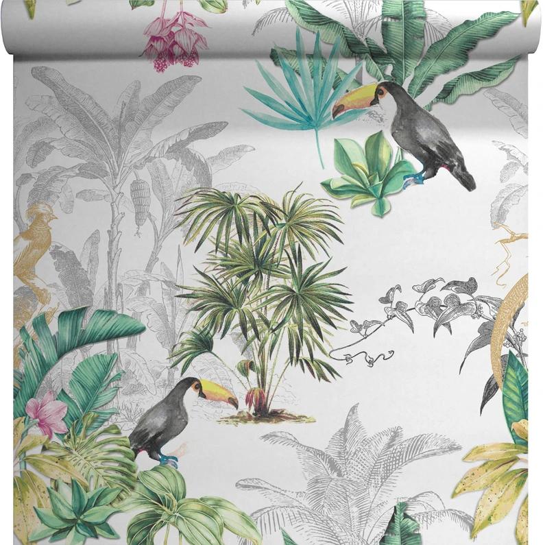 Papier Peint Vinyle Sur Intissé Motif Palm Perroquet