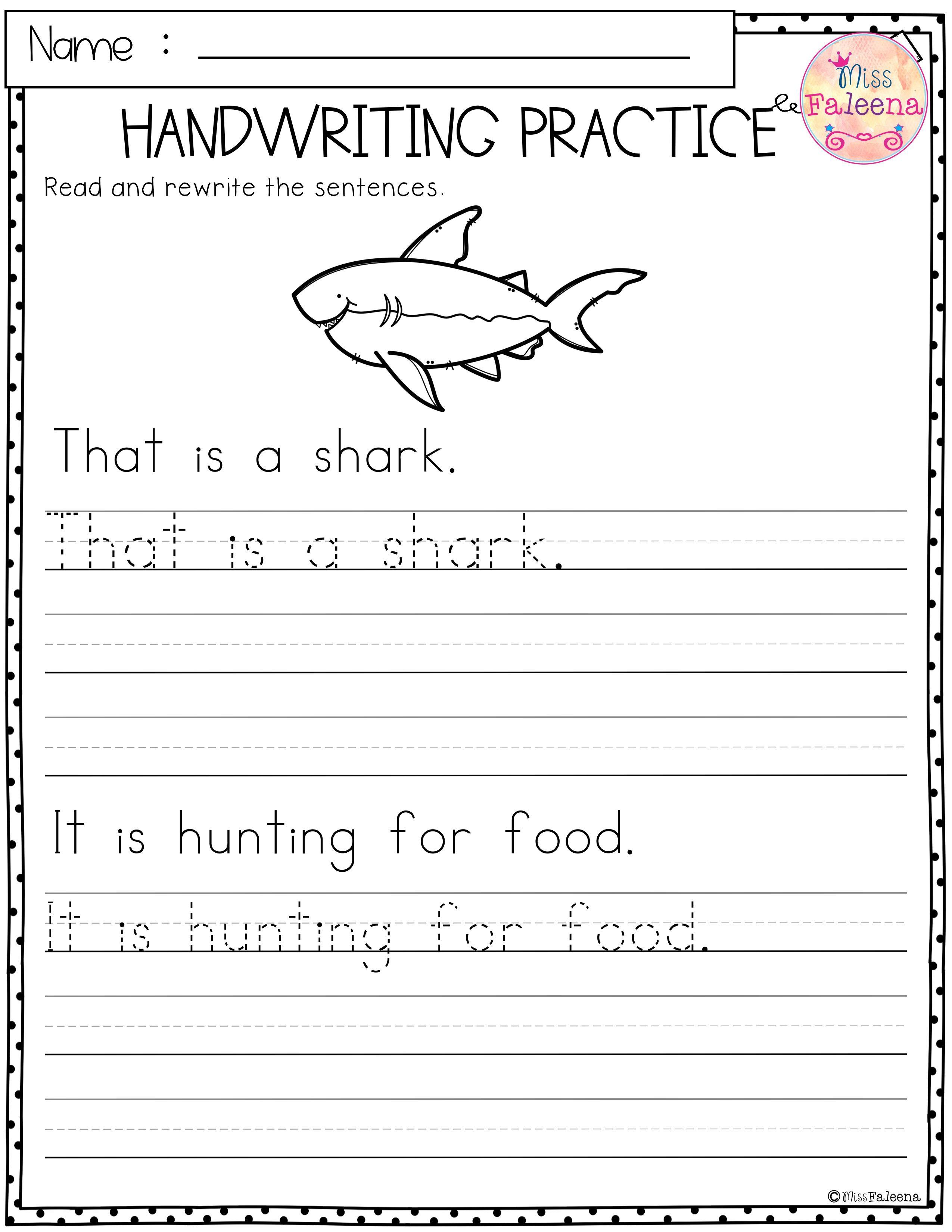 Summer Handwriting Practice